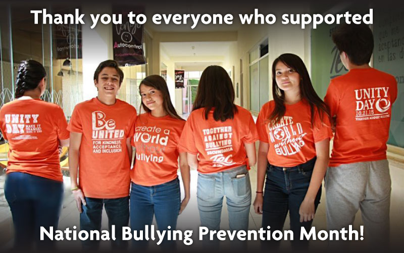 Thank you to everyone who supported national bullying Prevention Month