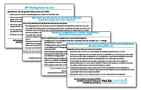 IEP Meeting Parent Tip Card