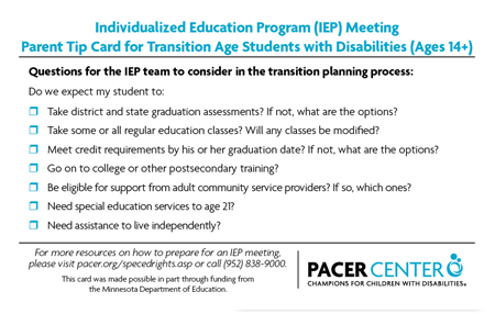 IEP Meeting Parent Tip Card for Transition Age